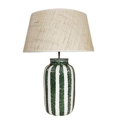 Lighting - Table Lamps - Palmaria Large Table lamp - / H 59 cm - Ceramic & raffia by Maison Sarah Lavoine - Green - Ceramic, Natural rabana