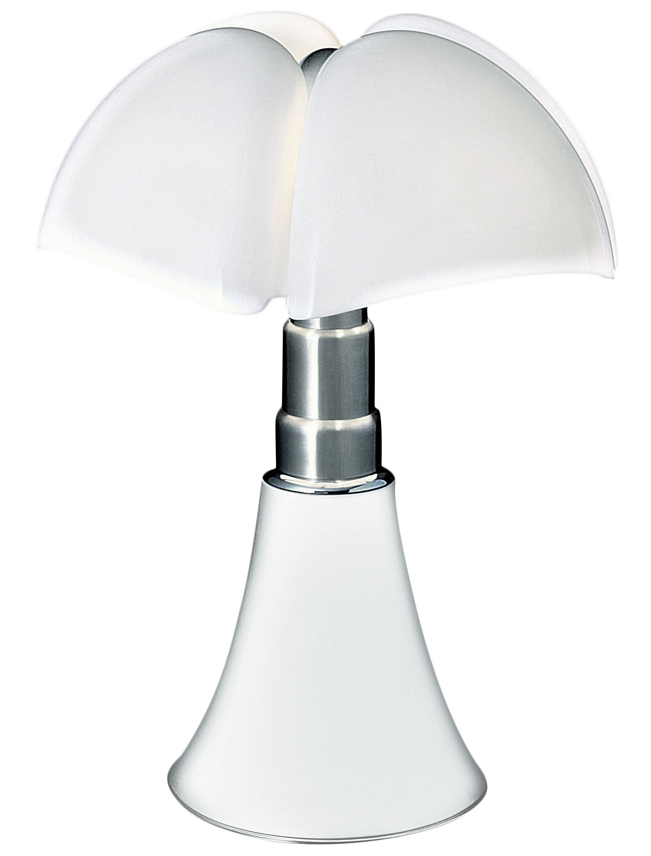 Lighting - Table Lamps - Pipistrello LED Table lamp - / H 66 to 86 cm by Martinelli Luce - White / White lampshade - Galvanized steel, Lacquered aluminium, Opaline methacrylate