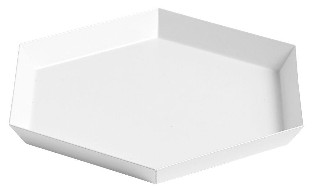 Tischkultur - Tabletts - Kaleido Small Tablett / 22 x 19 cm - Hay - Weiß - bemalter Stahl