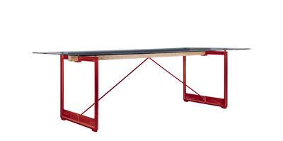 Arredamento - Tavoli - Tavolo rettangolare Brut - / L 205 x 85 cm di Magis - Grigio fumé / Base rossa - Ghisa, Rovere massello, Vetro temprato