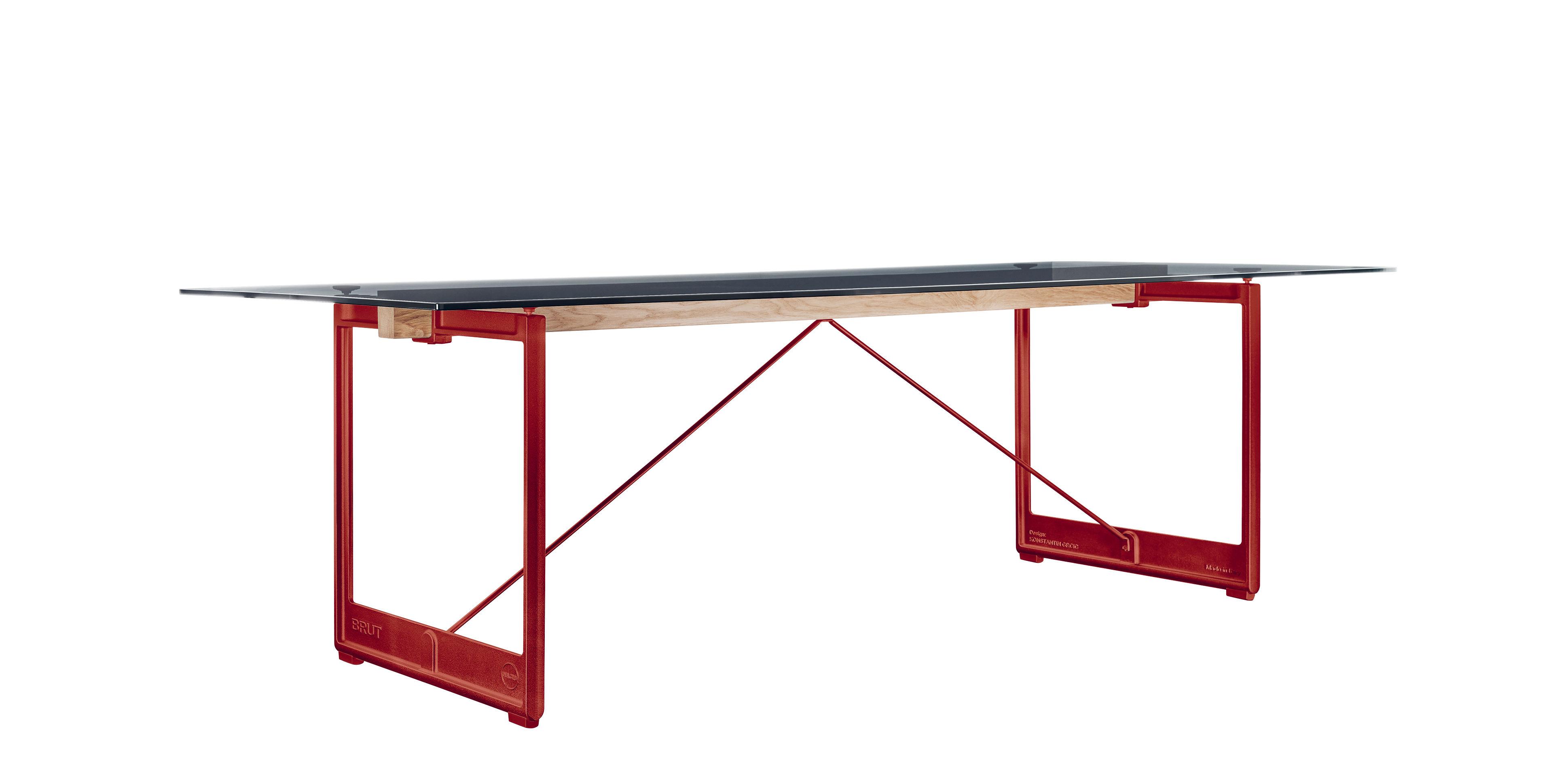 Möbel - Tische - Brut Tisch / L 205 cm x 85 cm - Magis - Rauchglas / Fußgestell rot - Einscheiben-Sicherheitsglas, Gusseisen, massive Eiche