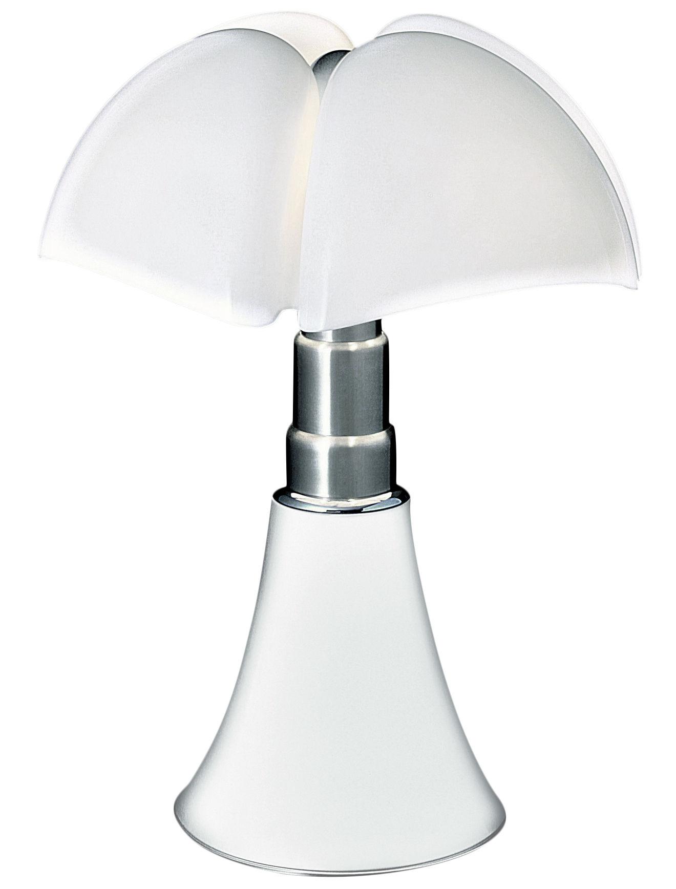 Leuchten - Tischleuchten - Pipistrello LED Tischleuchte / H 66 bis 86 cm - Martinelli Luce - Weiß / Lampenschirm: weiß - galvanisierter Stahl, lackiertes Aluminium, Méthacrylathe opalin
